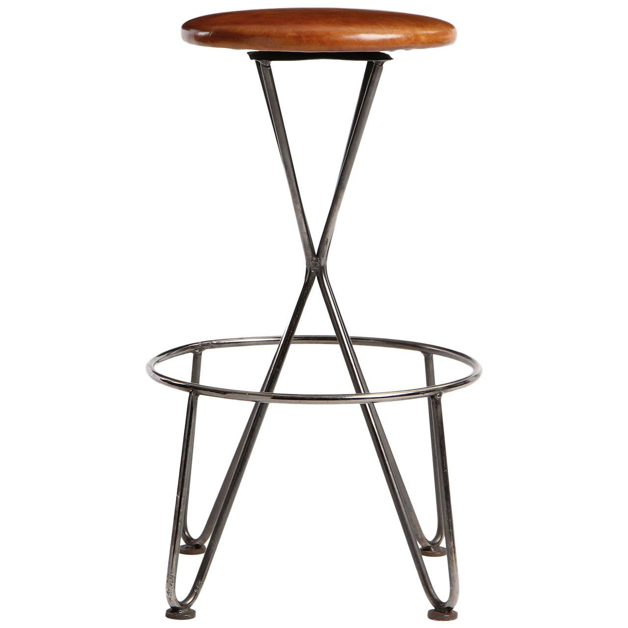 Swiveling Steel and Leather Stool