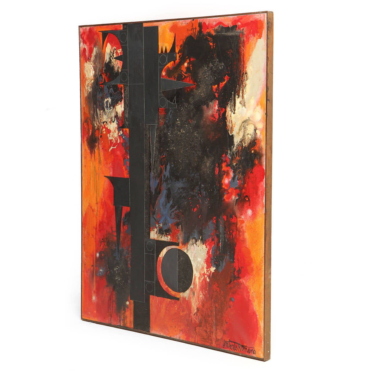 A graphic oil on canvas painting displaying a dynamic interplay between an expressionistic color-field of fire-toned hues and a totemic, geometric structure in black and gray. The painting retains its gallery stamp and is titled