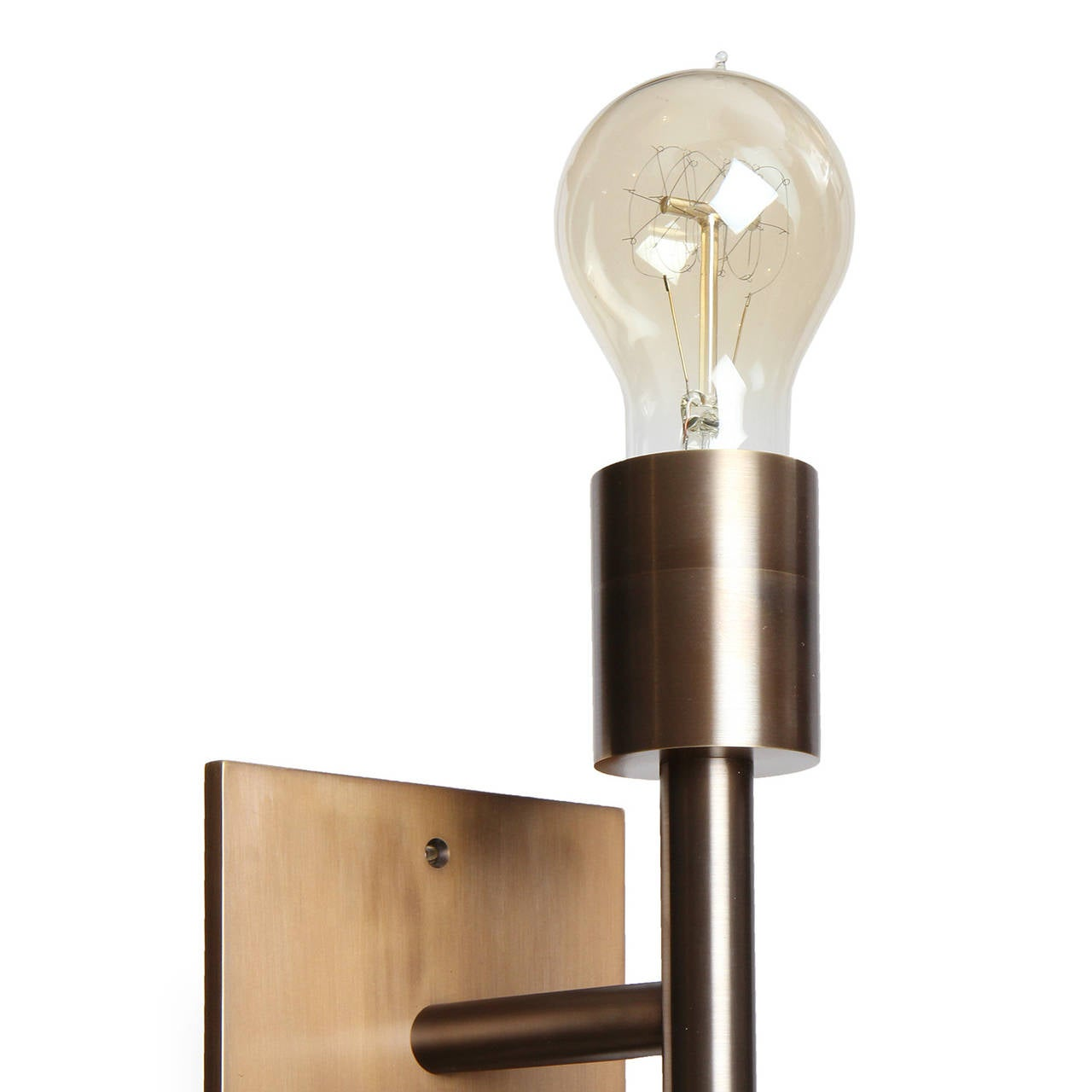 Contemporary Wyeth Original Double Wall Sconce in Patinated Brass For Sale