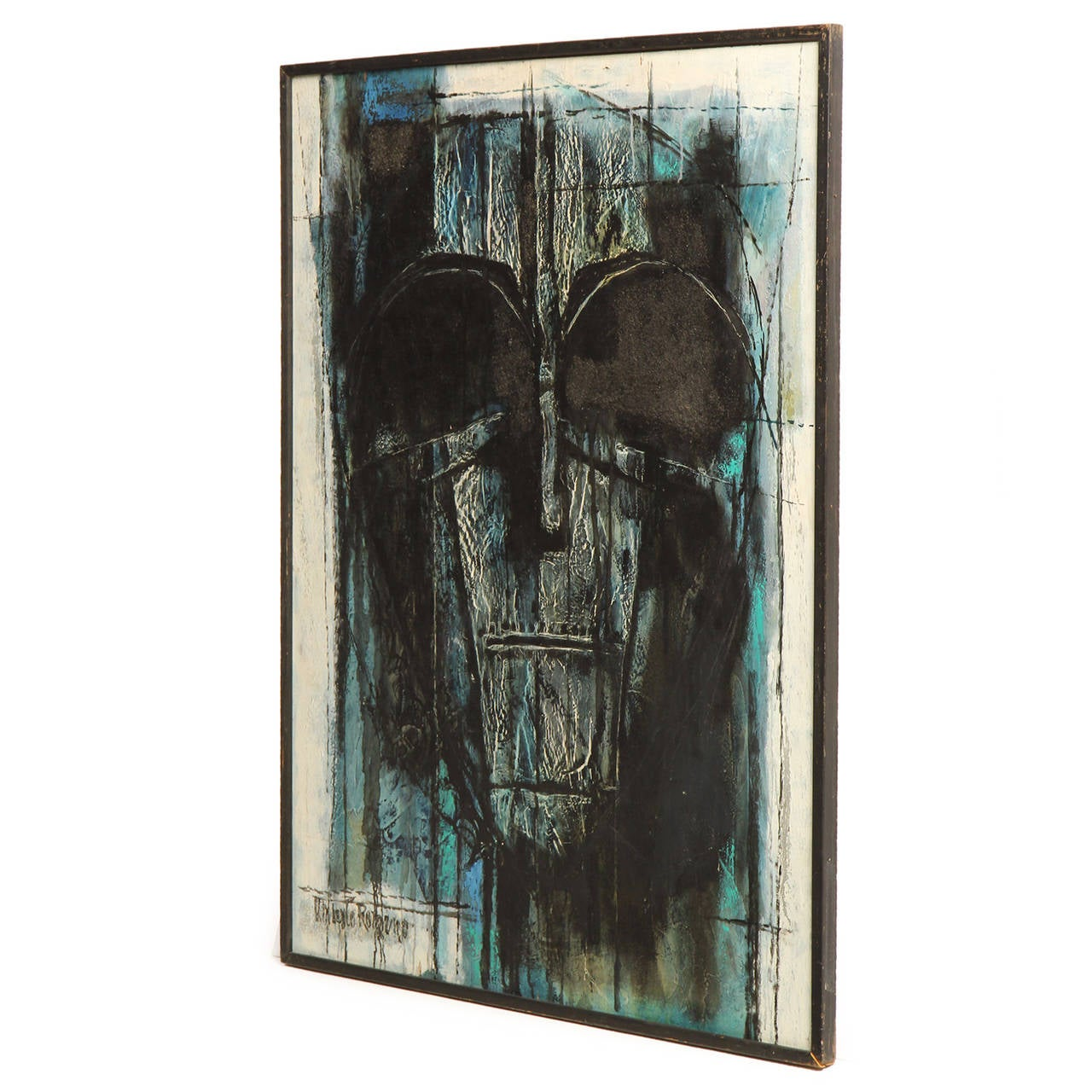 A painting depicting an abstracted mask in tones of black, blue, grey and cream. Titled