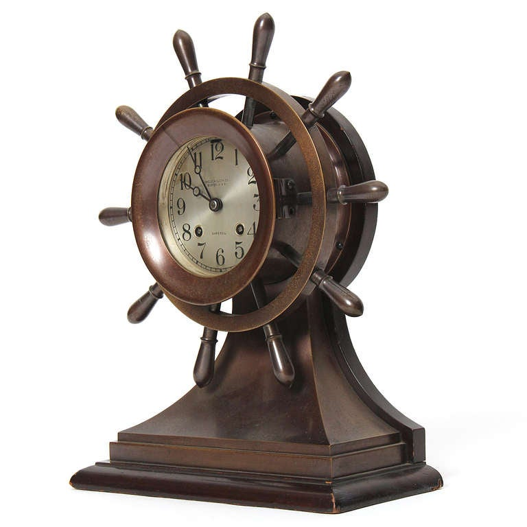 American Craftsman 1930s Nautical Clock by Chelsea Clock Company for Bigelow Kennard & Co. For Sale