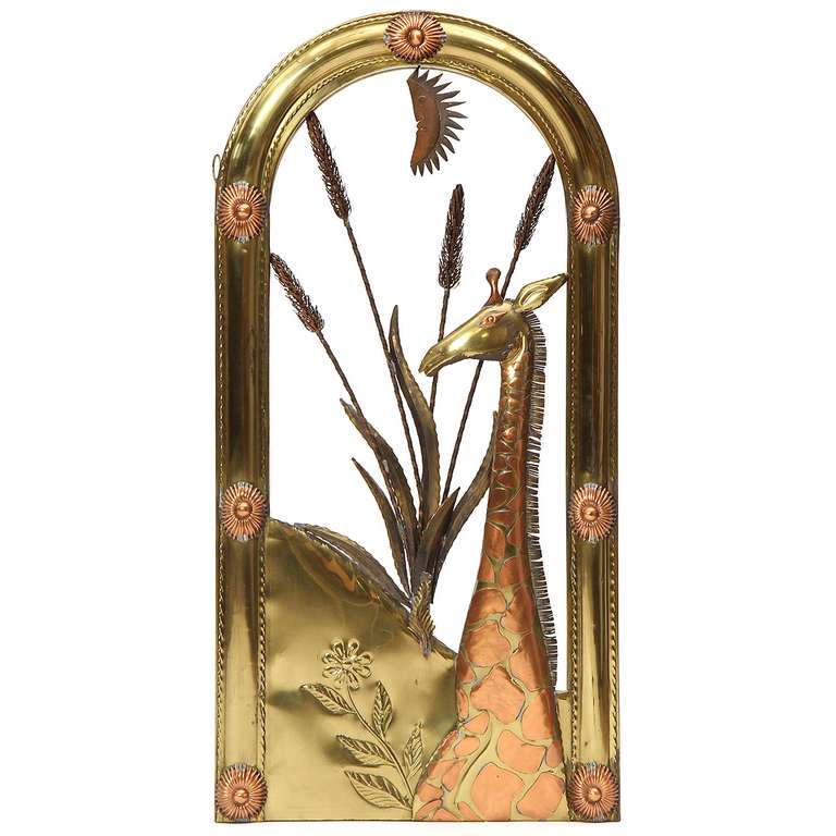 1960s Mexican Copper and Brass Wall Sculpture by Sergio Bustamante In Good Condition For Sale In Sagaponack, NY