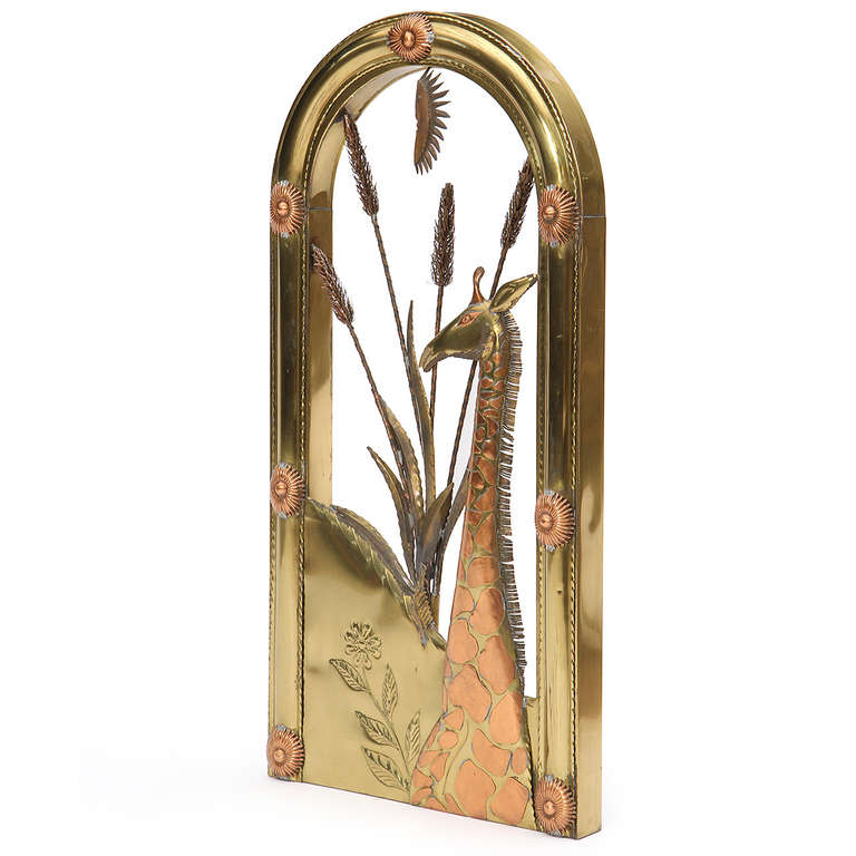 Mid-20th Century 1960s Mexican Copper and Brass Wall Sculpture by Sergio Bustamante For Sale