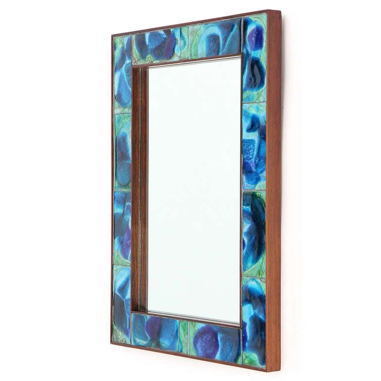 Tiled rosewood mirror attributed to vladimir kagan at 1stdibs for Thin wall mirror