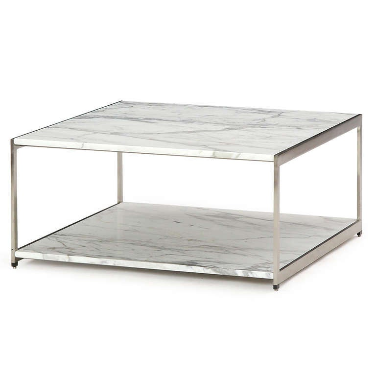 Two Tiered Carrara Marble Table By Ward Bennett For Sale At 1stdibs