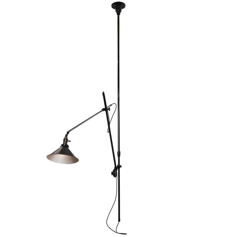 Articulating Industrial Ceiling Lamp by O.C. White For Sale 1