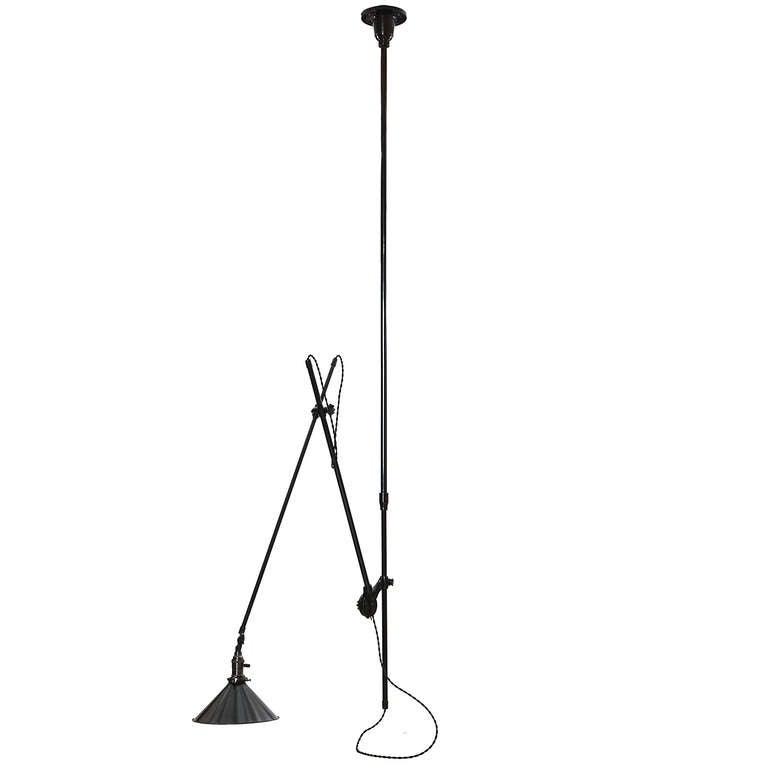 Articulating Industrial Ceiling Lamp by O.C. White In Good Condition For Sale In Sagaponack, NY