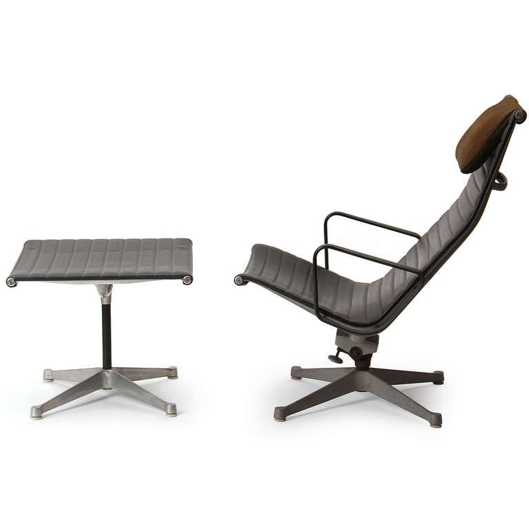 Aluminum Group Lounge Chair And Ottoman By Charles And Ray Eames At 1stdibs