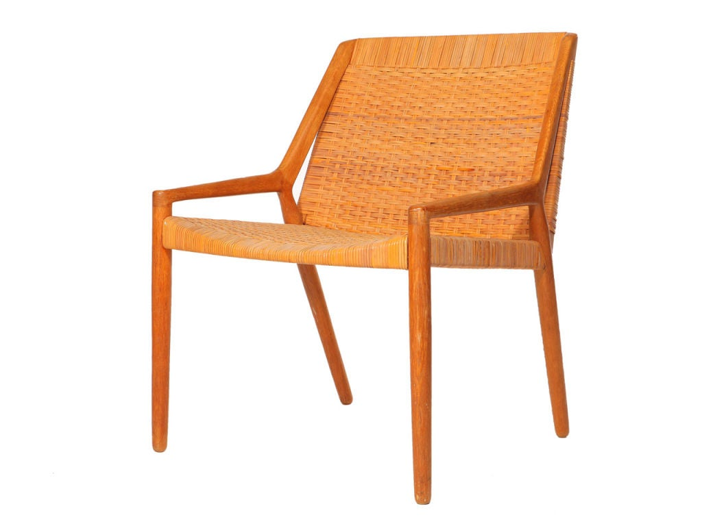 Oak And Cane Easy Chair By Larsen And Madsen 3