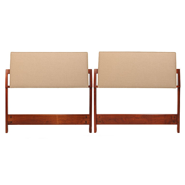 Twin Headboards in Walnut & Linen by Jens Risom