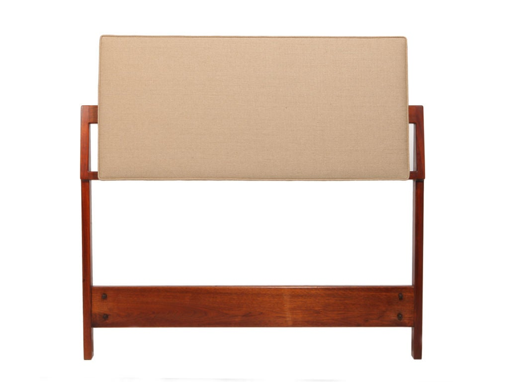 Twin Headboards in Walnut & Linen by Jens Risom image 2