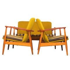 Teak and Oak Framed Chairs & Settee by Arne Vodder
