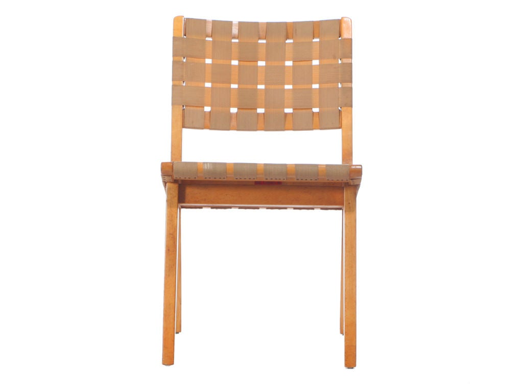 Webbed birch side chair set by jens risom at 1stdibs - Jens risom side chair ...