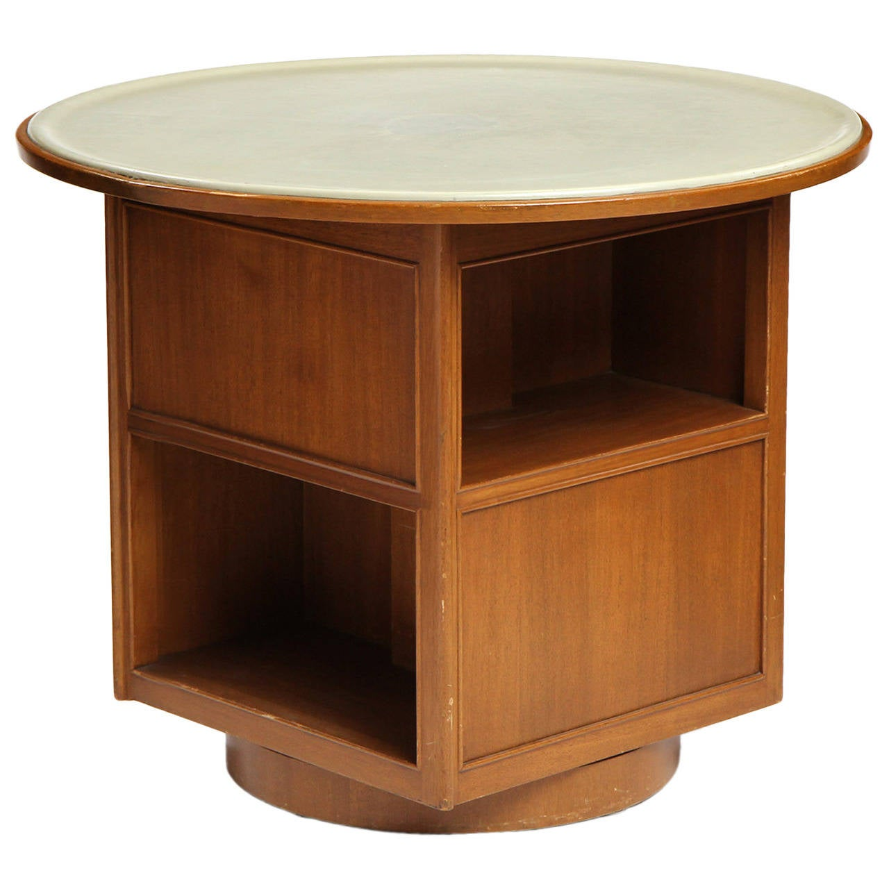 Four Sided Leather Top Table by Dunbar