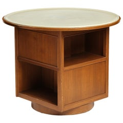 Four Sided Leather Top Table by Edward Wormley
