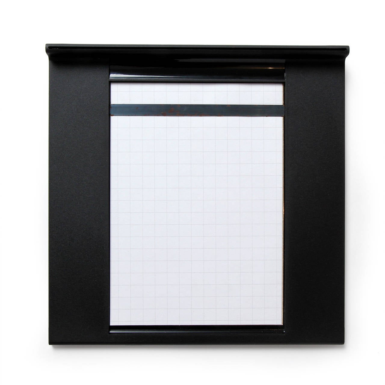 A set of sleek, finely detailed and elegant notepad holders in black plastic, the smaller one having a fitted pen.