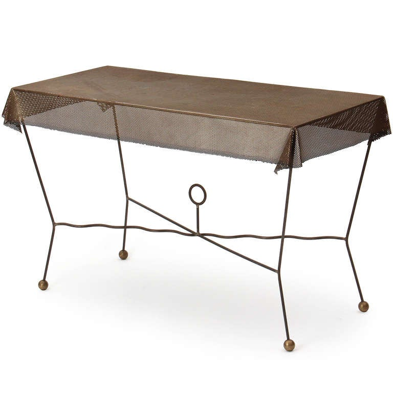 Mid-Century Modern 1950s American Perforated Steel, Iron and Brass Trompe L'oeil Table For Sale