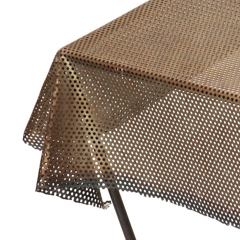 Mid-20th Century 1950s American Perforated Steel, Iron and Brass Trompe L'oeil Table For Sale