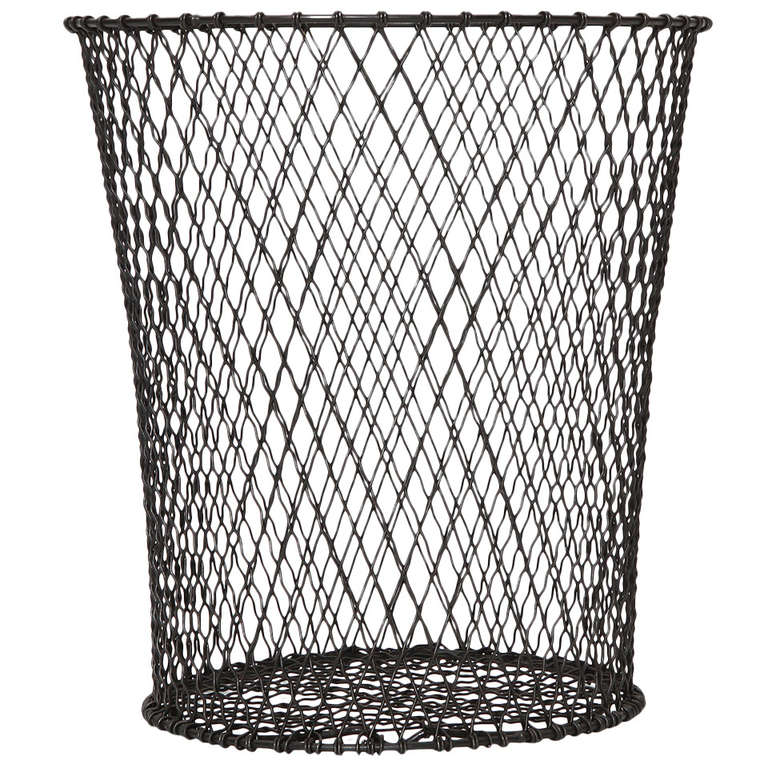 Wastepaper Basket Interesting Woven Wire Waste Paper Basket For Sale At 1Stdibs Inspiration