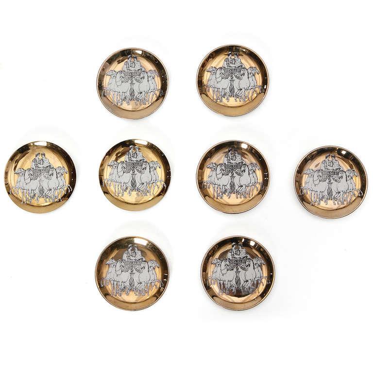Italian Greco-Roman Coasters by Piero Fornasetti For Sale