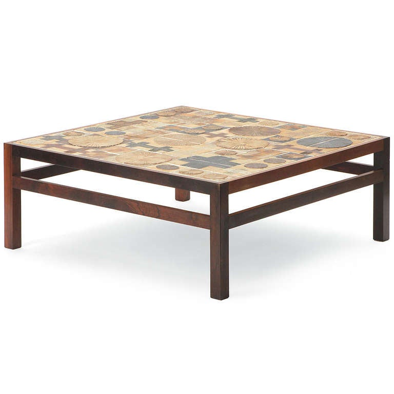 tile top low table by tue poulsen at 1stdibs