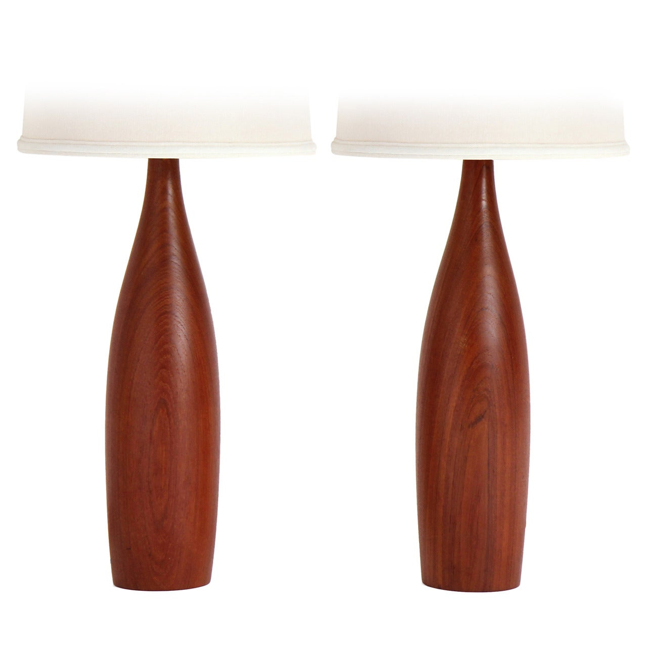 Danish Turned Teak Table Lamps