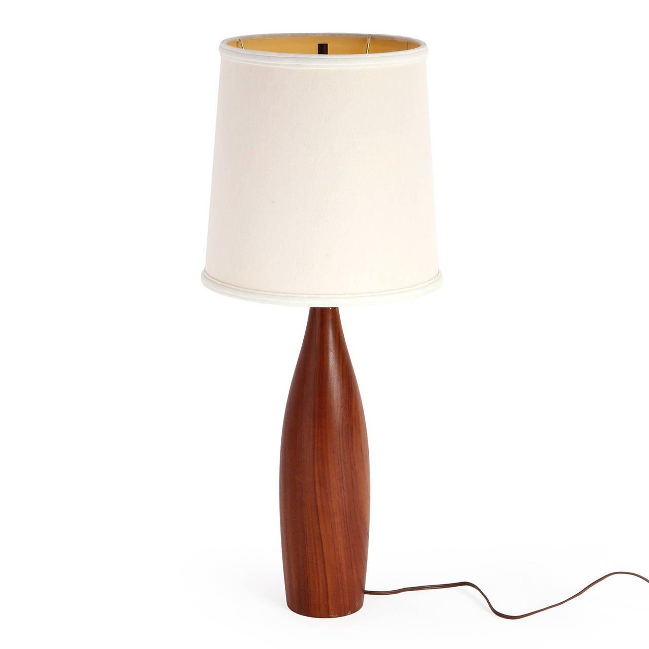 Danish Turned Teak Table Lamps For Sale at 1stdibs
