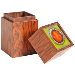 Bodil Eje Rosewood Trinket Box with Inlaid Ceramic Tile