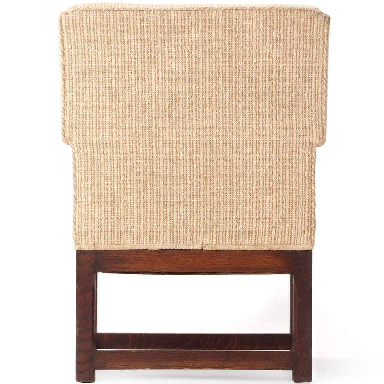 20th Century 1920s American Arts & Crafts Upholstered Oak Wingback Chair For Sale