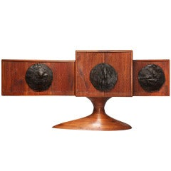 Craft Movement Cabinet with Leonard Baskin Bronze Plaques