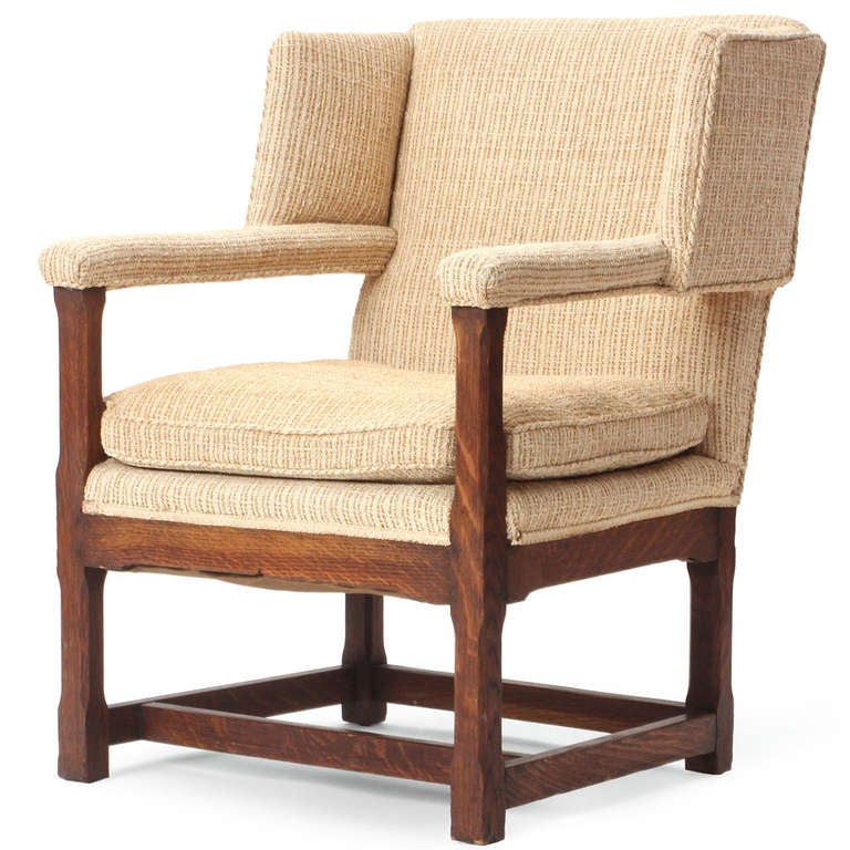 Arts and Crafts 1920s American Arts & Crafts Upholstered Oak Wingback Chair For Sale