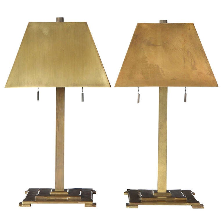bronze arts and crafts table lamps at 1stdibs. Black Bedroom Furniture Sets. Home Design Ideas