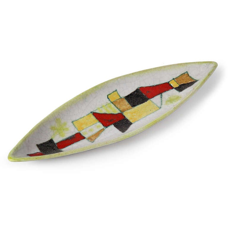 Mid-Century Modern Cubist Bowl by Guido Gambone For Sale