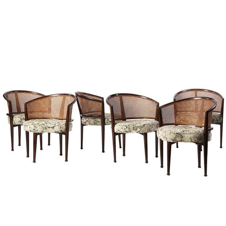 Set of Six Cane Back Dining Chairs by Edward Wormley For Sale