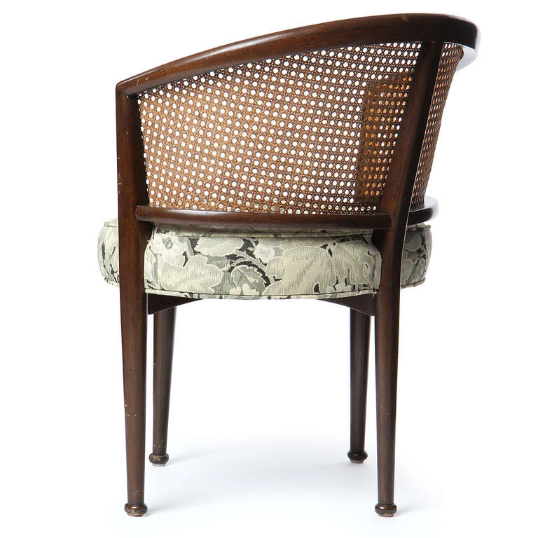 Mahogany Set of Six Cane Back Dining Chairs by Edward Wormley For Sale