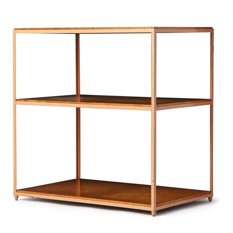 Mid-Century Modern Burl Birch Shelf Unit For Sale