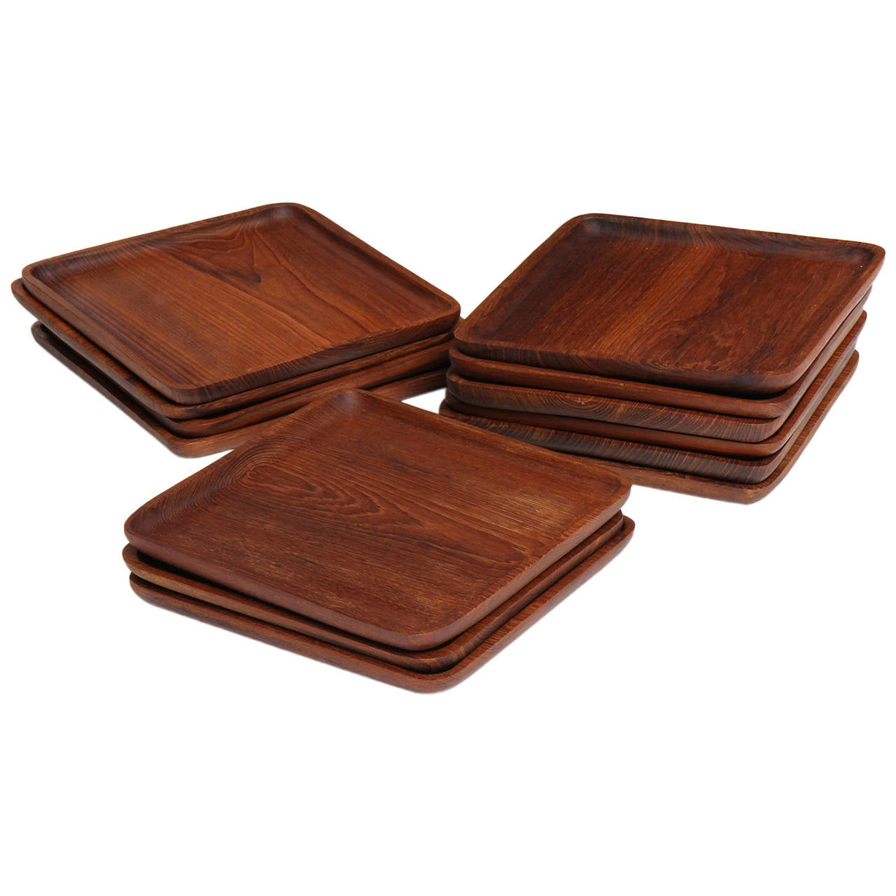 square teak plates for sale at 1stdibs