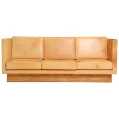 Natural Leather High Back Sofa