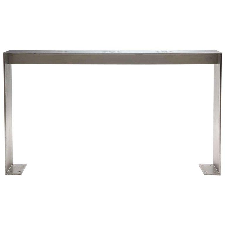 1980s Minimalist Steel Table from Yankee Stadium For Sale