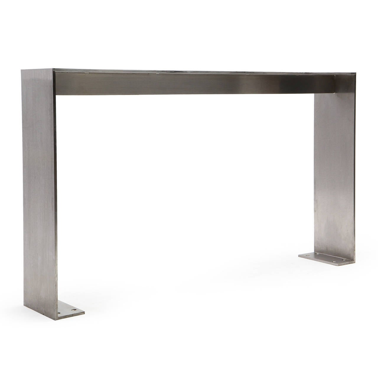 1980s Minimalist Steel Table from Yankee Stadium In Good Condition For Sale In Sagaponack, NY