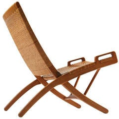 Oak and Cane Folding Chair by Hans Wegner