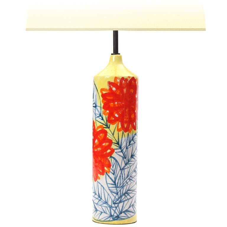 Floral Ceramic Table Lamp By Raymor At 1stdibs