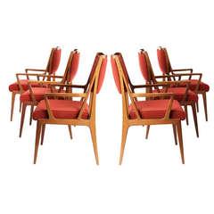 Set of Six Armchairs by Bertha Schaefer