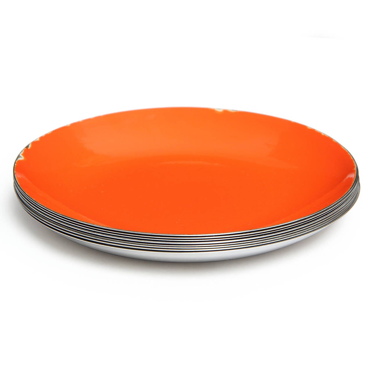 A graphic and elegant shallow enamel over polished stainless steel bowl. Originally distributed by Knoll International.