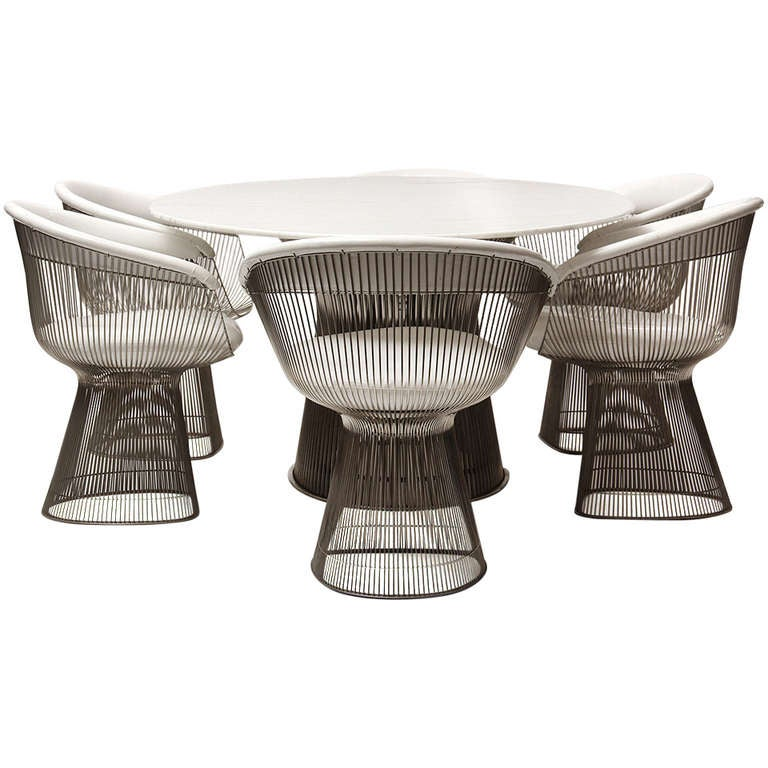 Rare oval dining table and chairs by warren platner at 1stdibs for Table warren platner