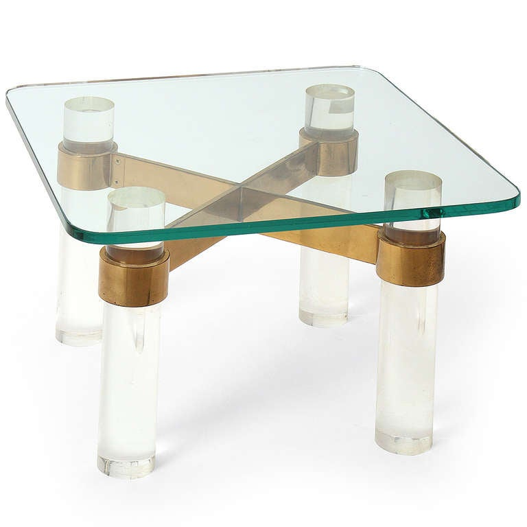 Lucite And Brass Karl Springer Style End Table For Sale At
