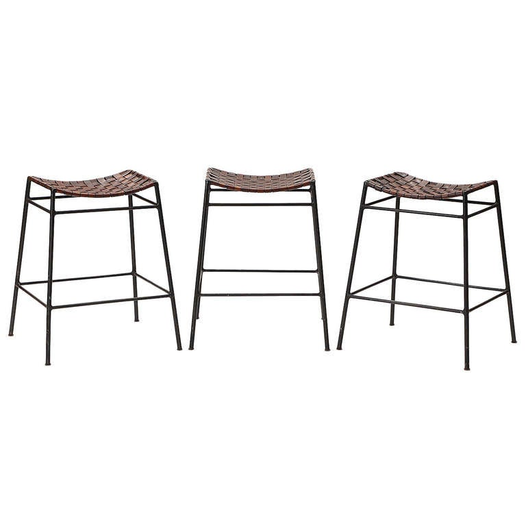 Leather And Iron Stools At 1stdibs