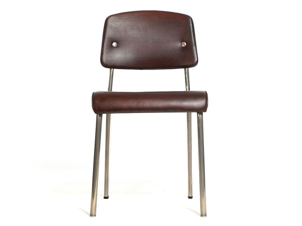 Nickeled steel standard chair by jean prouv at 1stdibs - Jean prouve chaise standard ...