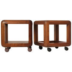 Walnut End Tables on Casters by Gerald McCabe