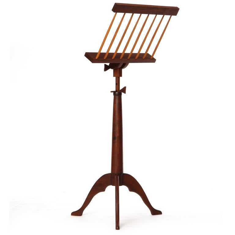 American Hand-Crafted Walnut Music Stand For Sale